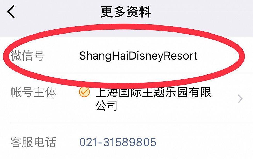 上海ディズニーリゾートの公式アカウントが探せない場合は赤丸のアカウントで検索してみてください。 (C) Disney