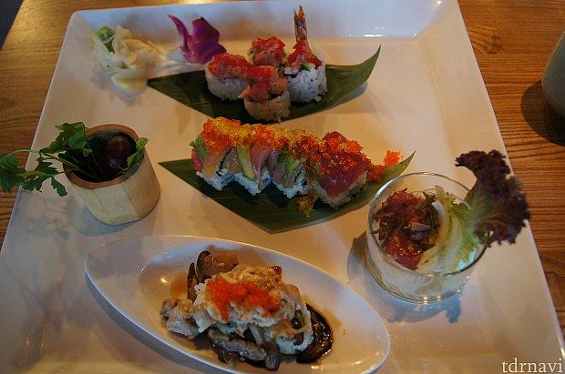 スパイシー天ぷらロール、シーフードダイナマイトロール、コオリナロール、ハワイ近海まぐろのアヒポキ