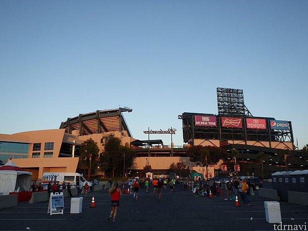 エンゼルススタジアム、15キロで給水とチアガールによるショッツ(エナジーゼリー)が渡されます。