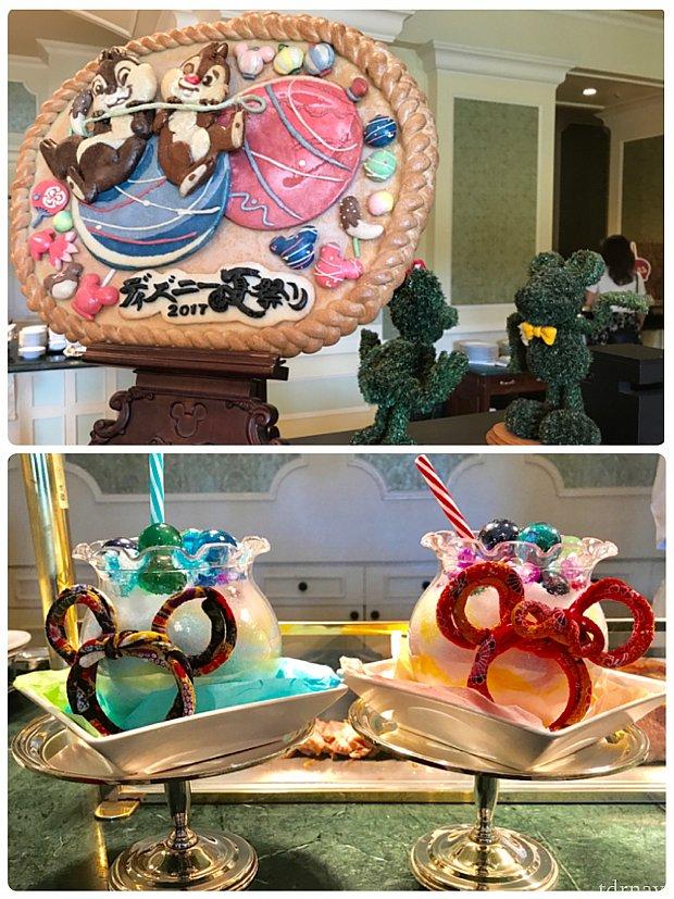 ブッフェコーナーにディズニー夏祭りのディスプレイがたくさん☆可愛らしくて、見ているだけでワクワクした気持ちになります☆