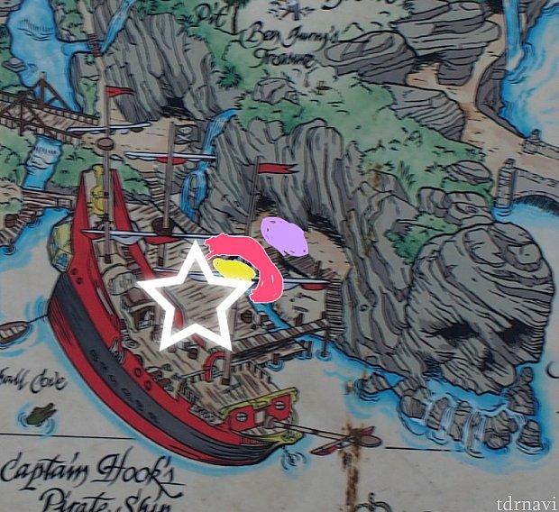 黄色が子どもがいる場所・ピンクが1段目大人がいる場所・紫が2段目です。