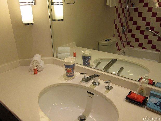 洗面所もトイ・ストーリーグッズだらけ。