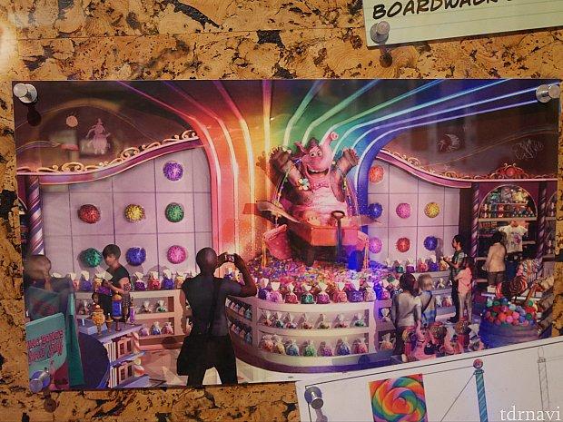 『Bing Bong's Sweet Stuff』のコンセプトアートはこんな感じ!ビンボンの足元の棚にあるカラフルなキャンディー(タフィー)が販売されていたので、紹介します!!! ちなみにお店はオープンしましたが、まだシンボルとなるこのビンボンは工事中らしいです(^^;)