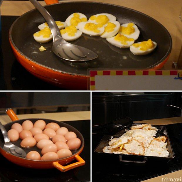 ミッキーの立体的な顔がついた卵やゆで卵、目玉焼き、スクランブルエッグもありました。