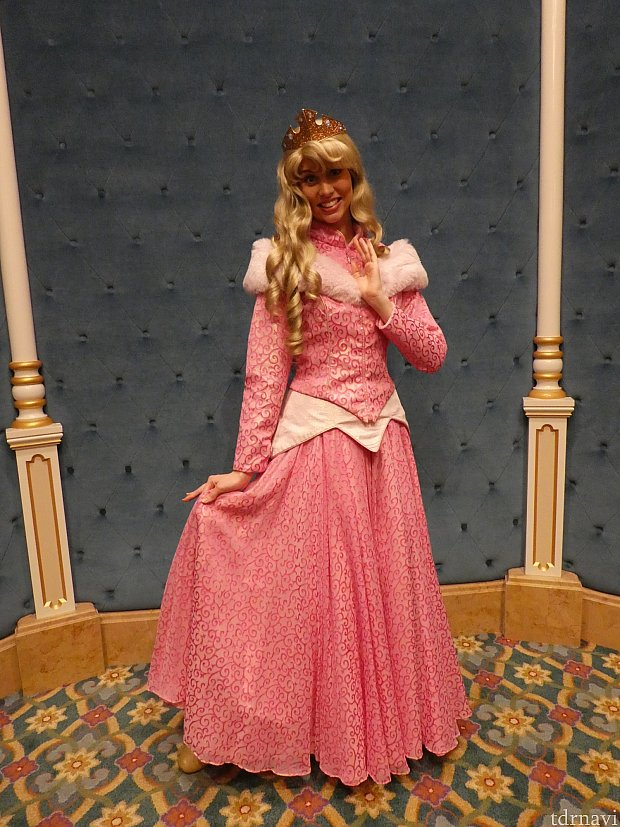 フォトスポットには誰か「プリンセス」が待っていてくれます。この日はオーロラ姫でした。