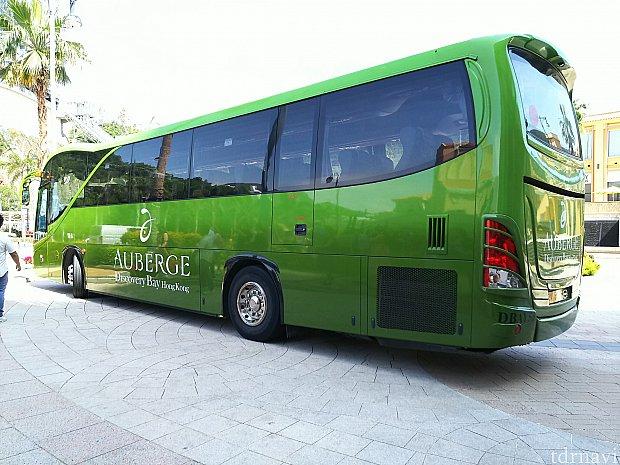 ホテル⇒ディズニーへのシャトルバスは緑の大きいバスが来ます。