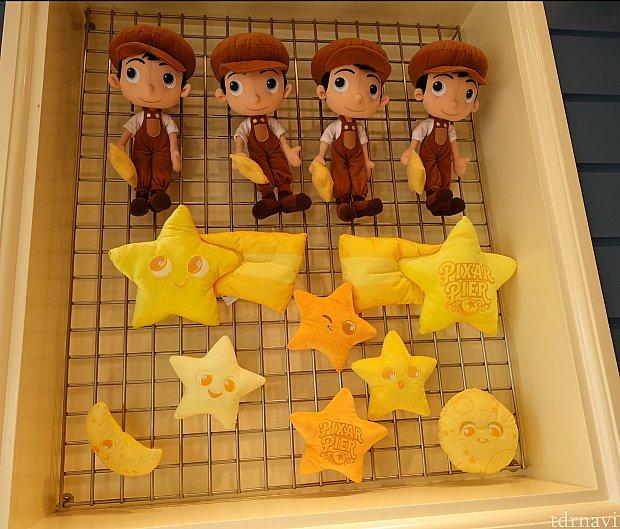 『月と少年』ゲームの賞品がこちら。ピクサーピアのロゴ入りスターなど。