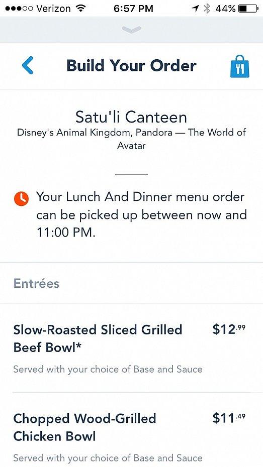 さて、オンラインオーダーの仕方ですが、まずはレストランを選びます。現時点ではこのSatu'li Canteenのみ利用できるサービスですが、今後対応レストランが増えていくことと思います。レストランの中でも、ホテルなどのパーク外からでも、注文することができます。ただし、注文した時点で会計を済ませないといけません。