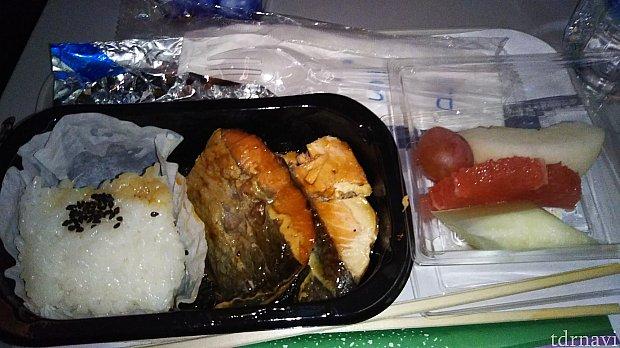 復路のダラス~成田間で出された昼食です。アメリカで作っているからでしょうか…なかなか厳しいお味でした。食べかけすみません。