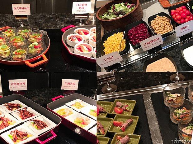 夜ご飯:私の日はアジア料理が多かったです!右上のサラダは朝もまったく同じでした!