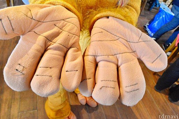 見せてもらいました。アブーの手のひら! ちゃんと手相があるんですね(^^)