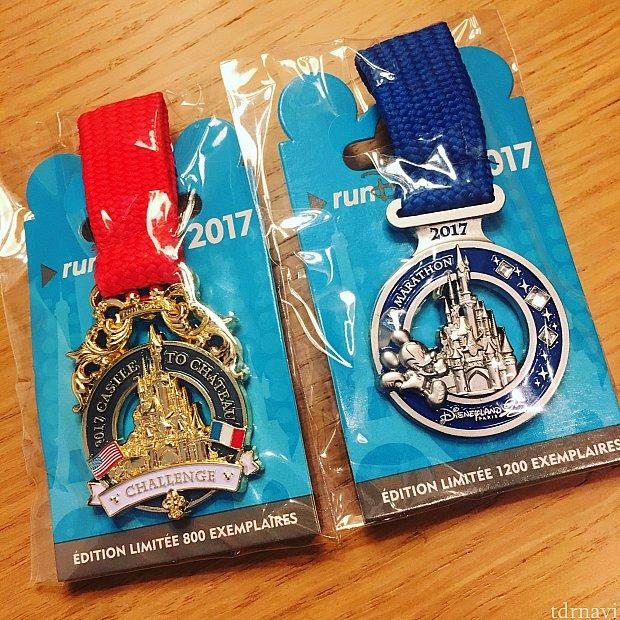 デザインがお気に入りのハーフマラソンと実物は手にすることができないCastle to Châteauのメダルピンを年パス割で購入しました♪