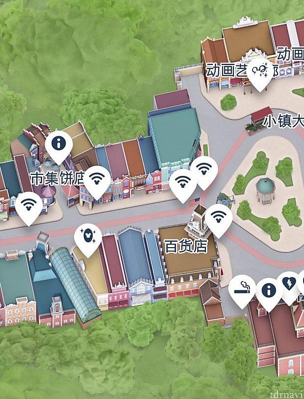 メインストリートUSAのマーケットハウス・ベーカリーとメインストリート・マーケットの間の奥まったところにあります。市集餅店のところです。