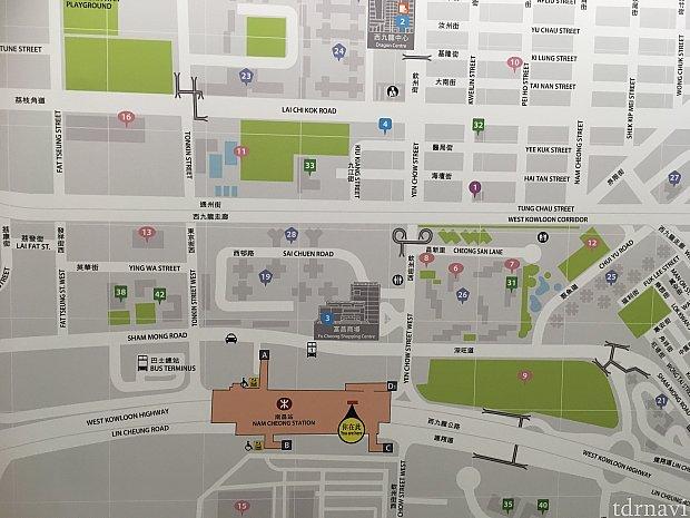 こちらがナンチョン駅周辺案内図。ホテルは緑の32番付近にあります