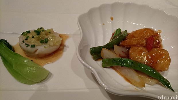 帆立貝の生姜蒸しと唐辛子醤油炒め