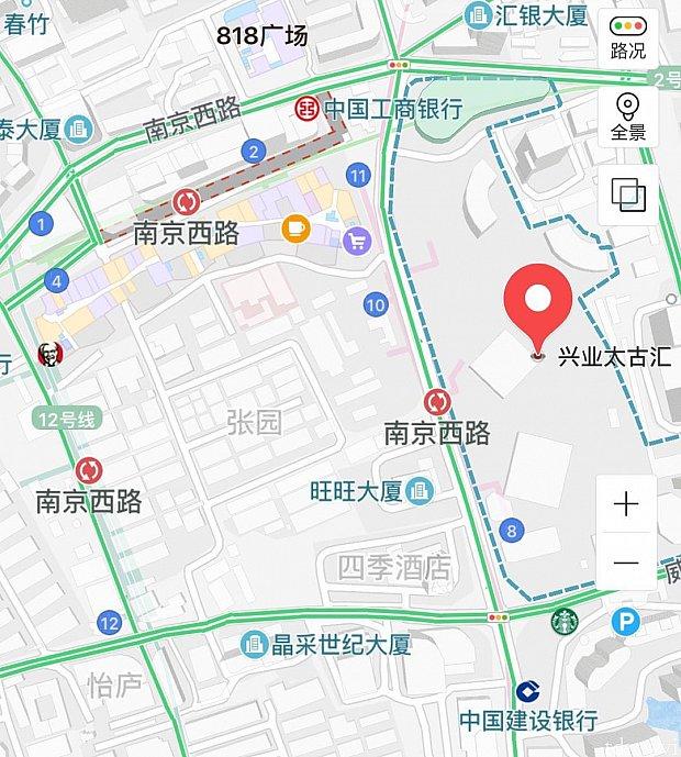 地下鉄12号線 南京西路駅5番出口から出てすぐ。2号線、13号線にも南京西路駅はありますが繫がっていないので注意してください!
