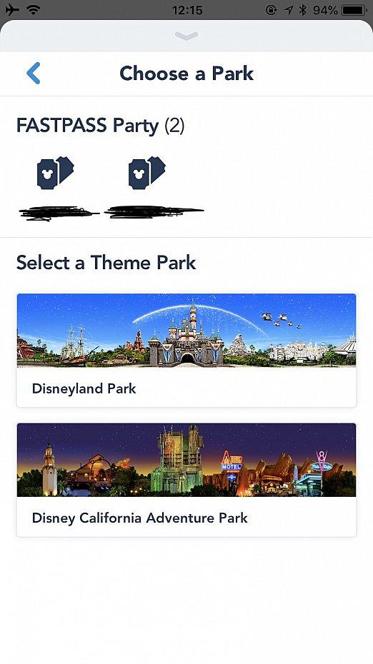 人数選択→パーク選択→アトラクション選択 パークホッパーなら両方取れます。