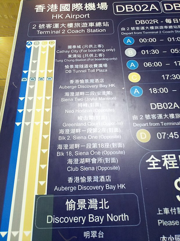 『DB02』の路線図。Dルートの『DB02A』とBルートの『DB02R深夜便』だとホテルに停車します。普通の『DB02R』だと2つめの『Siena Two』下車⇒徒歩になります。