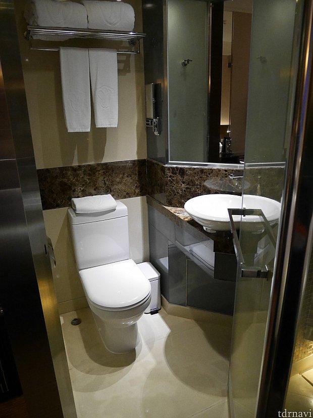 洗面所とトイレはかなり狭め。洗面器が小さかったので、顔を洗うとびしょびしょに😅