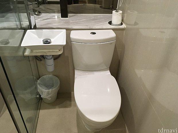 トイレと洗面台は隣り合わせ。左がシャワールームなのですが…、