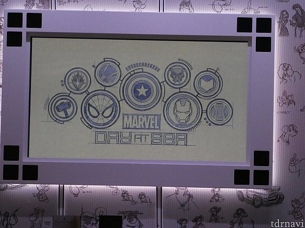 この日のレストランはアニメーターズパレットでした。 レストラン内にあるモニターにマーベルデーのロゴが!