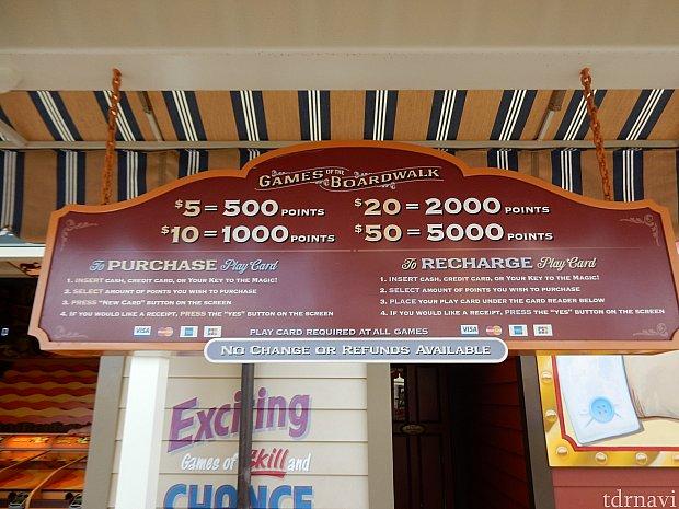 5ドル・10ドル・20ドル・50ドルの単位でチャージできます。現金かクレジットカードで支払います👛