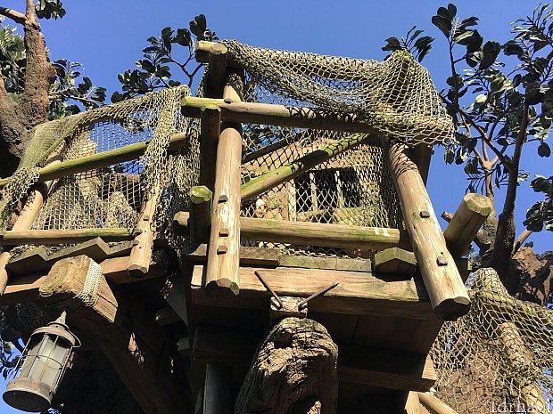 島の右側にはトムソーヤのツリーハウスが。上まで登れます!