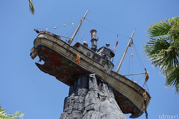 ハリケーンによってメイデー山に突き刺さった難破船