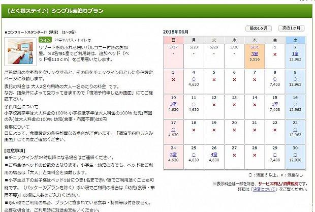 2018年6月の楽天トラベルによる予約カレンダーです。 2名の場合ですが、4,000円代で予約出来ることがわかります。