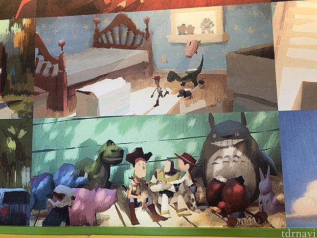 壁にはトイストーリーのアートがたくさん!トトロ発見♡