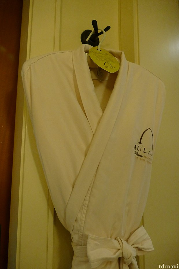 バスルームに2着目のバスローブがありました。どの客室にも置いてあり、お店で120ドルで販売されています。