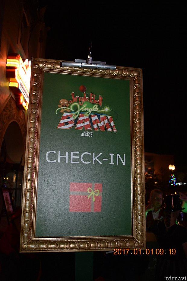 チェックイン場所はチャイニーズシアター前でした!
