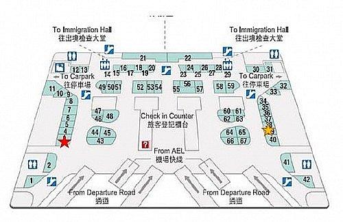 黄色い☆が第2ターミナルの小さい方です。赤の大きい方にはTシャツやコップのセール品がたくさんあります。