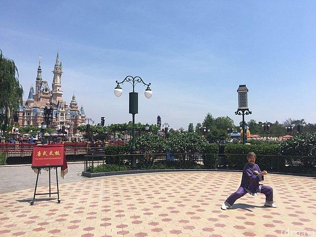マスター(唐老師)が現れ、キャッスル前の広場で太極拳の練習を始めます。