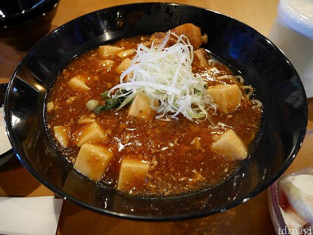 こちらは冬のメニューの麻婆豆腐麺!これが食べたかった😭こちらはネギを避けられます。