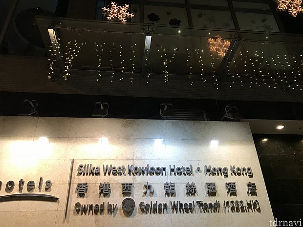 ホテルの入り口です。クリスマスの電飾がされていました。