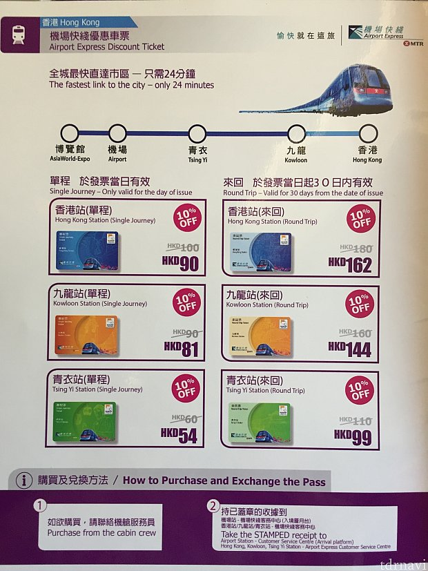 機内で香港のエアポートエクスプレスのチケットも安く買えるみたいです。