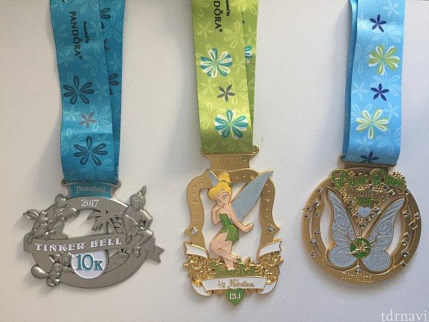 今回の10K, Half, Challengeのメダル。
