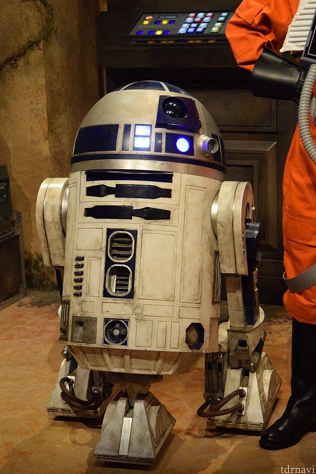 R2-D2は、カメラを向けると頭を動かしてこちらを見ようとしてくれます。かわいい~!ちょっと汚れているところが凄くリアルでした。
