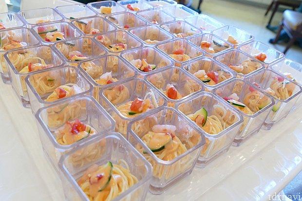 冷製カッペリーニ〜ビスク風味のカルボナーラ〜 通称ひとくちパスタ 今回も人気の一品でした! おくちの中に広がる濃厚なクリームは 冷製ということもあってサッパリとして食べやすいです✨