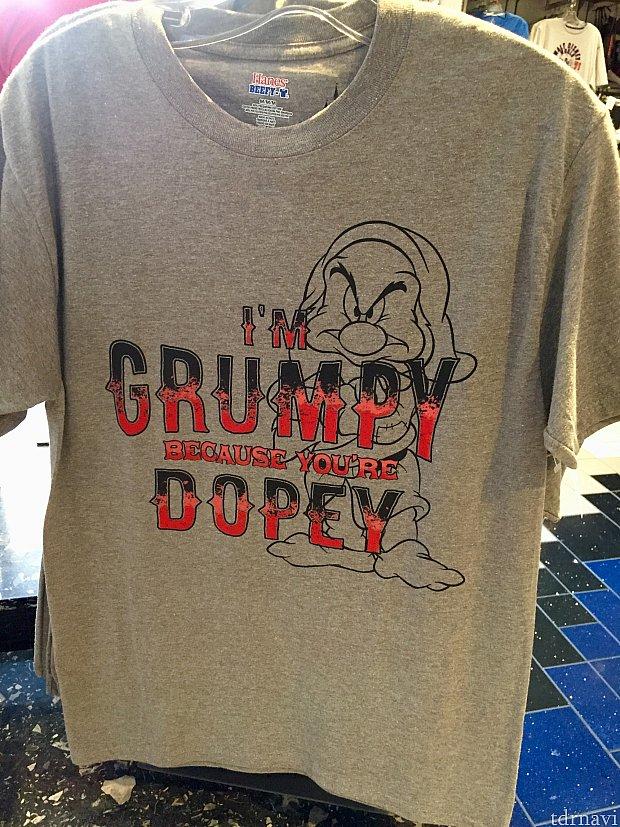 これ欲しい…(笑)シャレが効いてるGrumpy シャツの中でもピカイチです。「僕が怒りっぽいのは、君がオトボケだからだよ!」日本語で柔らかく訳すとこんな感じです。英語のニュアンスだともう少しキツイ感じですね〜。パートナーにDopeyシャツを着せてペアで来てる人よくいます!