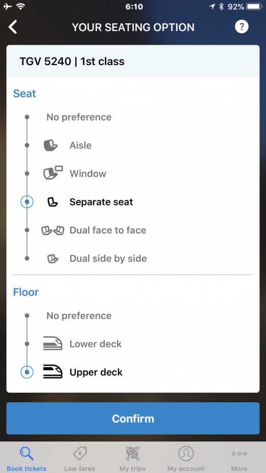 座席種を選択します。 往復の場合も、同じように。