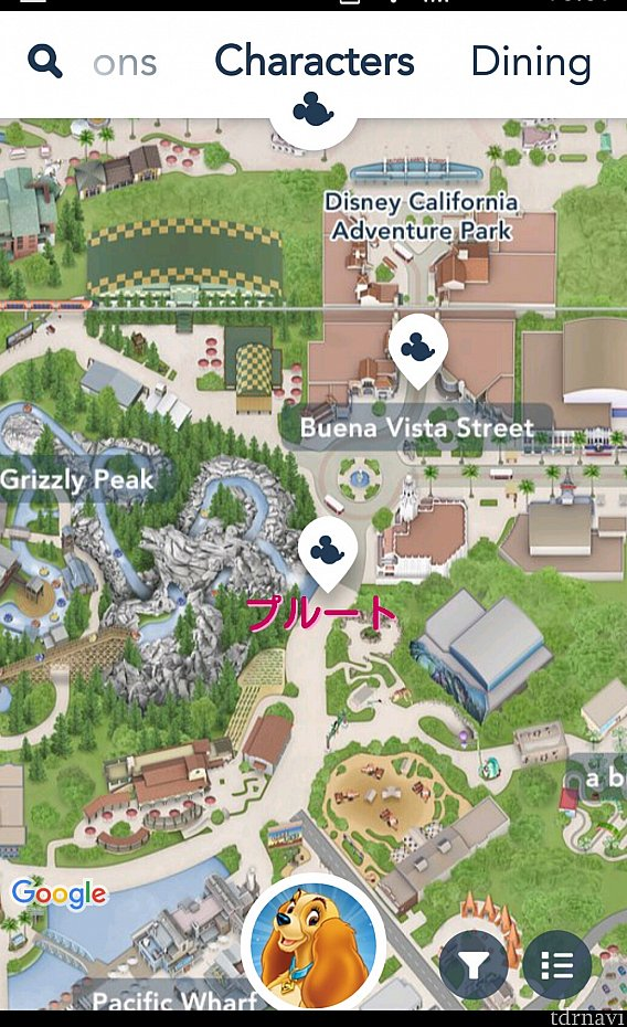 タイムガイドにFestival Corridorと書かれているプルートの場所は、下にあるミッキーマークのあたり。 カーセイサークルレストラン近くです。