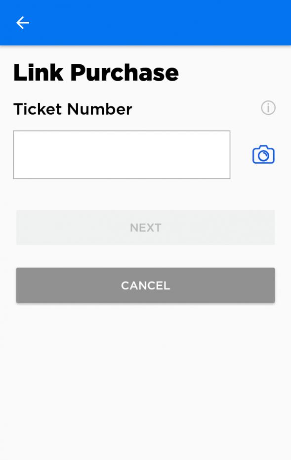クレジットカードの登録を終えたら、今度はチケットとリンクさせます。カメラボタンを押すとチケットの裏面のバーコードを読み取ることができます。