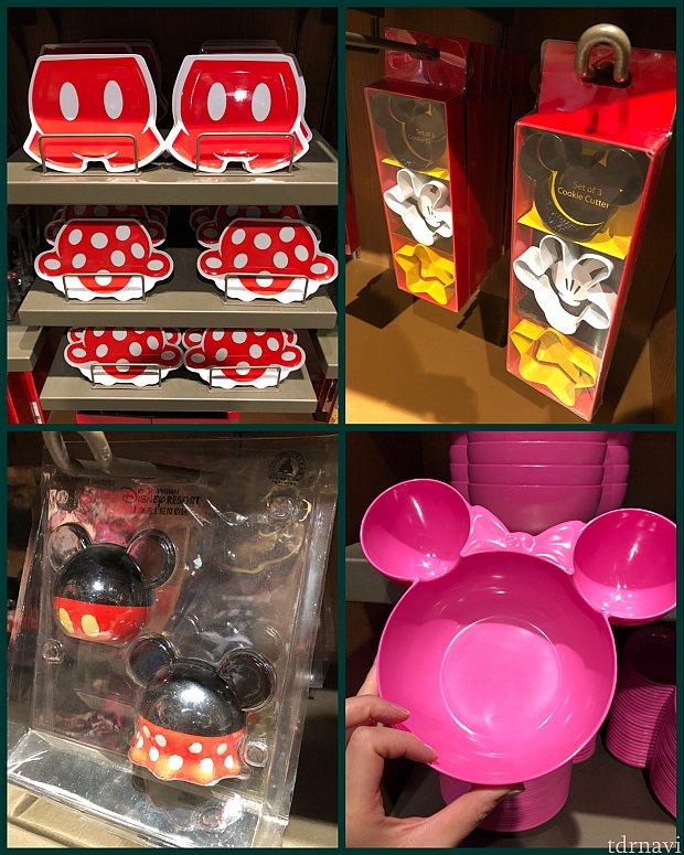 (左上)ミキミニのプラスチックプレート 各39元 (右上)クッキー抜き型セット 75元 (左下)塩コショウ入れ 125元 (右下)プラスチックプレート 39元 色違いで赤いミッキーのもの、もう少し大きいサイズも69元でありました。