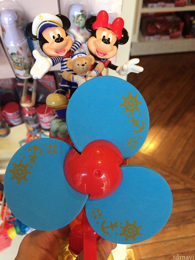 ダッフィー&ミッキー&ミニーのミストファン 198香港ドル。キャラが3人も乗ってます。これを豪華と見るか大きくて邪魔と見るか。