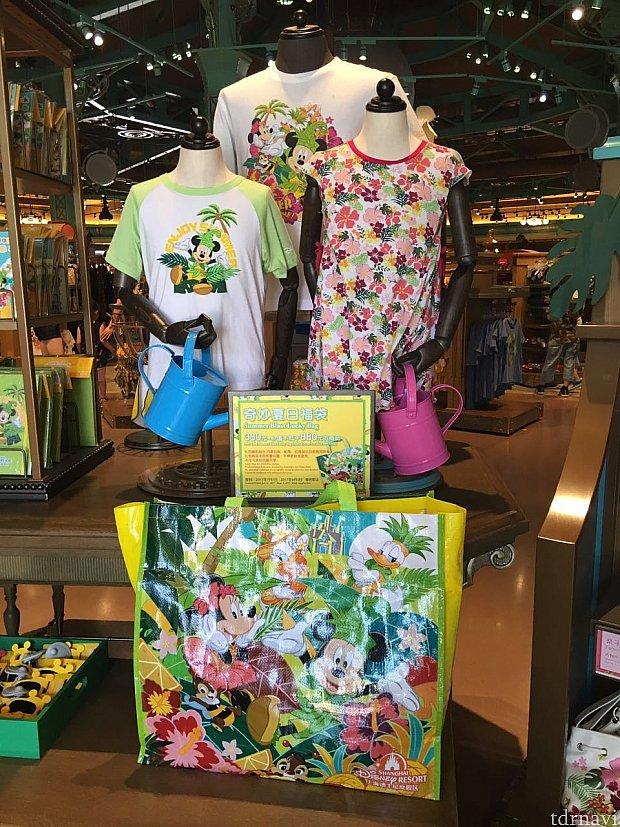 夏の向けの新商品の陳列台にも福袋がおいてあります。