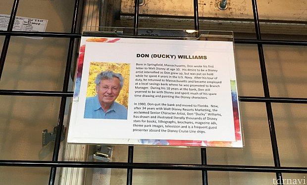 次はアニメーターの方達の中でも有名な、Don William さん。Duckyさんと言われているようで、彼のネームタグも 「Ducky」となっていました。34年間もディズニーでアニメーターとして働いていらっしゃると言う事で、他のアニメーターさん達も彼のことをよくご存知だそうです。
