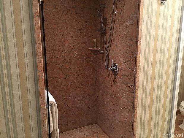 お風呂の向かいにシャワールーム。中央に廊下があるので助かります。
