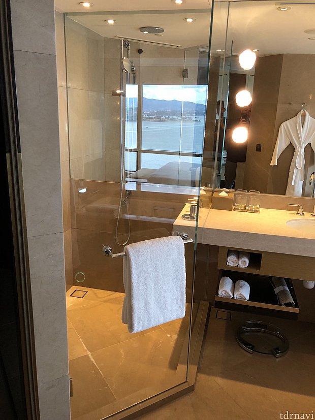 バスタブから独立したシャワールーム。